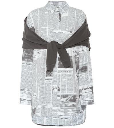 Schwarz Balenciaga Bedruckte Wei Bluse Bedruckte Baumwollanteil Mit Balenciaga dYYqO8xnZ