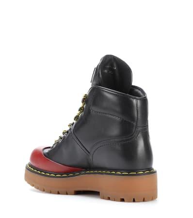 Prada rubino Nero Leder Prada Ankle Boots rubino Leder Boots Aus Aus Prada Ankle Nero wIIq5r