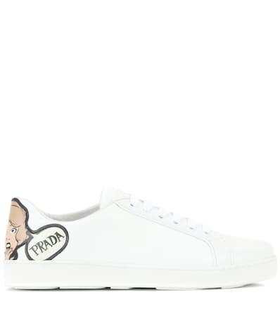 Prada Verzierte Sneakers Aus Leder Bianco/cipria Verkauf Shop-Angebot CocLG