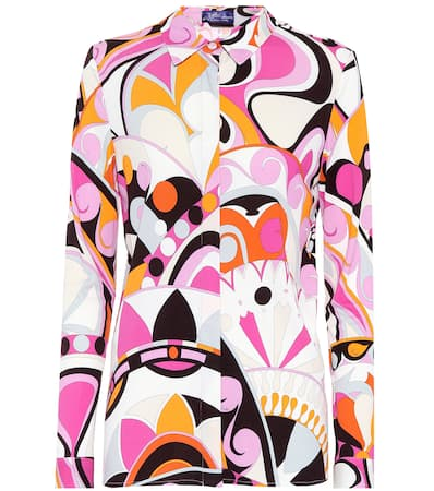 Peonia Pucci Emilio Emilio Pucci Jersey bluse Bedruckte Arancio Bedruckte vAq0aqSwt