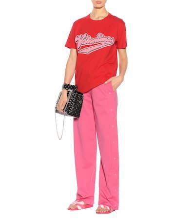 T Valentino Valentino Aus shirt Verziertes V Baumwolle T shirt Rosso Verziertes wwTUxBWXqF