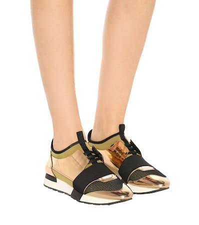 Lederbesatz Balenciaga kaki Noir Sneakers Race Mit or Sneakers Balenciaga Runner Sqw1Yd