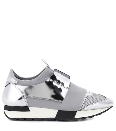 Balenciaga Balenciaga Runner Lederbesatz Sneakers Argent Mit Race Sneakers Uv1qf55