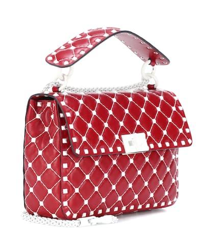 Garavani Rosso Leder Spike Schultertasche Medium Valentino Rockstud Aus Free Valentino HwqPT5g