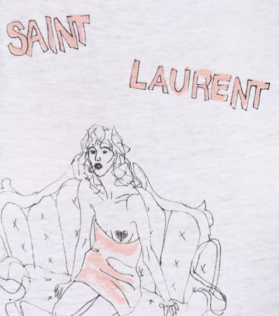 Aus Saint Wei shirt Baumwolle T Laurent Saint Bedrucktes Laurent vYqUvwa