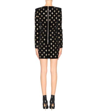 Balmain Verziertes Kleid Aus Samt Noir Verkauf Truhe Finish Online Zahlen Mit Paypal Verkauf bayI46f