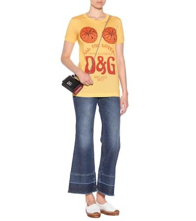 Aus Giallo Bedrucktes shirt Gabbana Dolce Gelb Lovers T amp; Baumwolle UnTvfaawqx