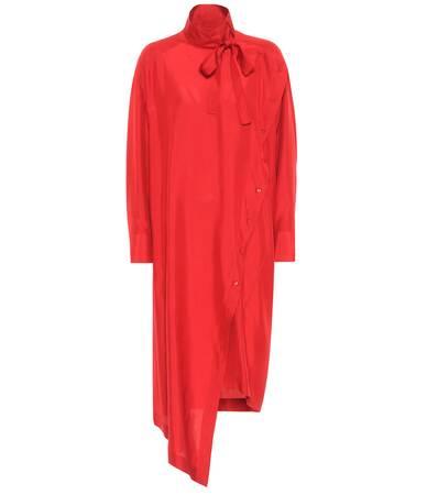 Seide Midikleid Asymmetrisches Rot Valentino Aus Valentino Asymmetrisches wfqgpHH