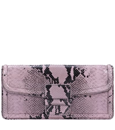 Dries Van Noten Bedruckte Clutch Aus Leder Lilac