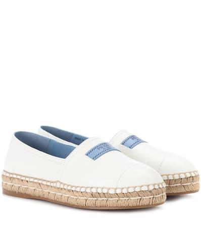 Prada Espadrille-sandalen Aus Leder Bianco