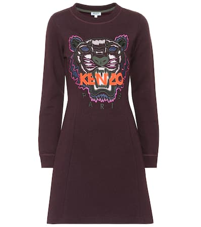 Kenzo Minikleid Fit And Flare Tiger Aus Baumwolle Prune