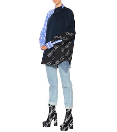 Aus Hemd Vetements Hemd Baumwolle Mehrfarbig Oversize Vetements Patchwork Oversize Patchwork t0qwU0