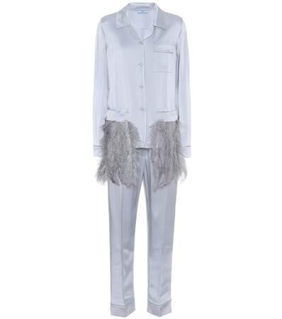 Aus Federn Prada Prada Nube ematite Nube Satin Aus Mit Mit Federn Pyjama Pyjama Satin 6AxqwR8P