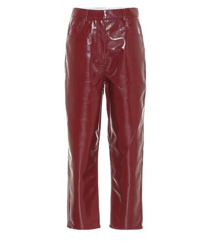 Pantalon à taille haute en cuir synthétique - Tibi - Modalova