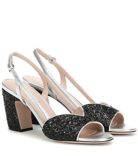 Sandales en cuir à paillettes - Miu Miu - Modalova