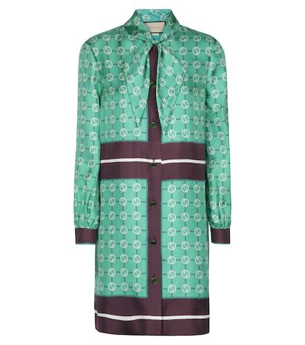 Robe chemise GG imprimée en soie - Gucci - Modalova