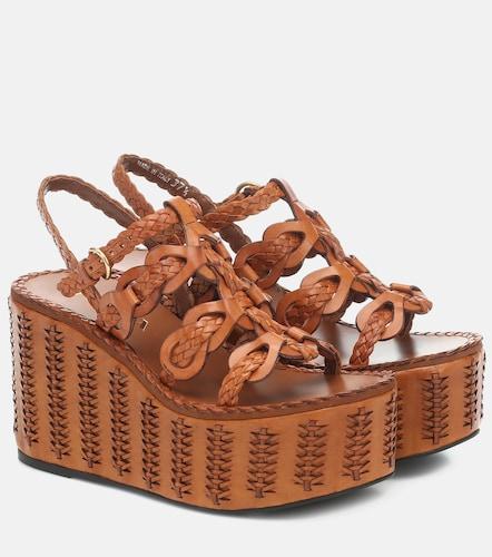 Sandales compensées en cuir - Prada - Modalova