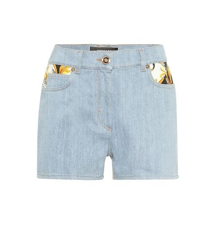 Short en jean imprimé à taille haute - Versace - Modalova