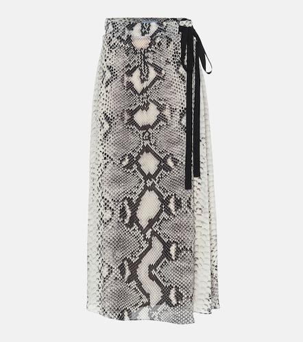 Jupe portefeuille imprimée en soie à taille haute - Prada - Modalova