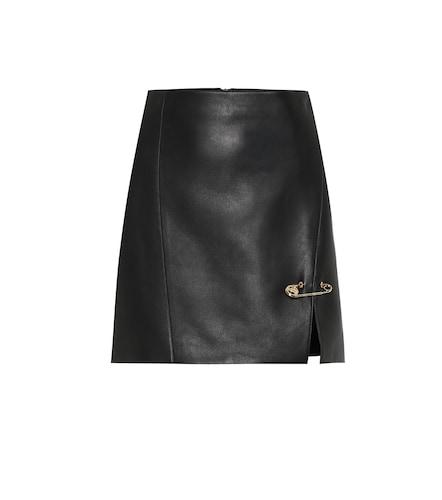 Mini-jupe en cuir à ornements - Versace - Modalova