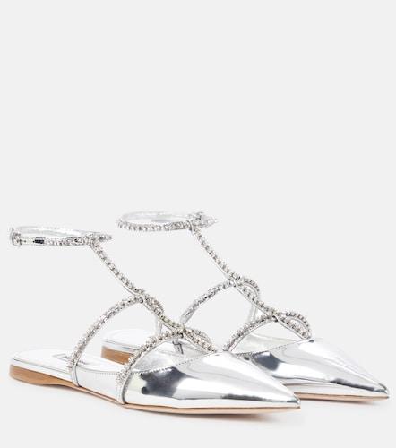 Sandales en cuir métallisé à ornements - Miu Miu - Modalova