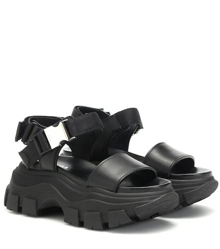 Sandales à plateforme Block en cuir et toile - Prada - Modalova