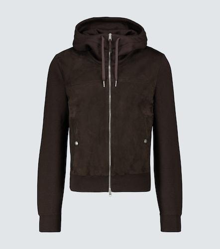 Sweat-shirt à capuche en laine et suède - Tom Ford - Modalova
