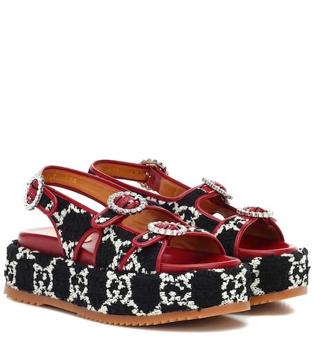 Sandales à plateforme en tweed et cuir - Gucci - Modalova