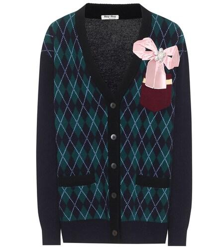 Cardigan en laine à carreaux - Miu Miu - Modalova