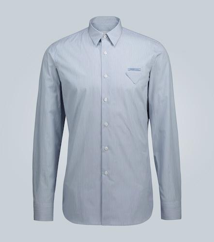 Logo-detail striped cotton shirt - Prada - Modalova