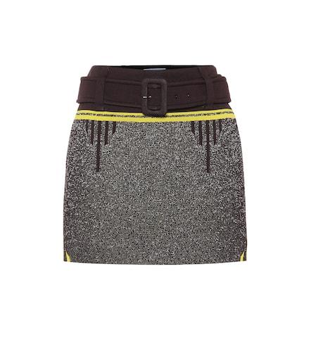 Mini-jupe à taille haute en maille stretch - Prada - Modalova
