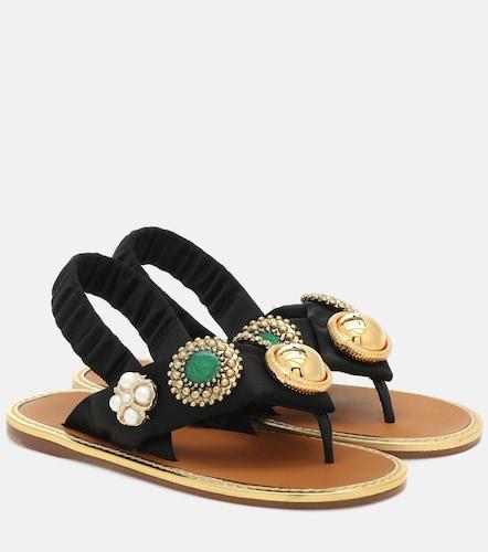 Sandales en coton à ornements - Miu Miu - Modalova