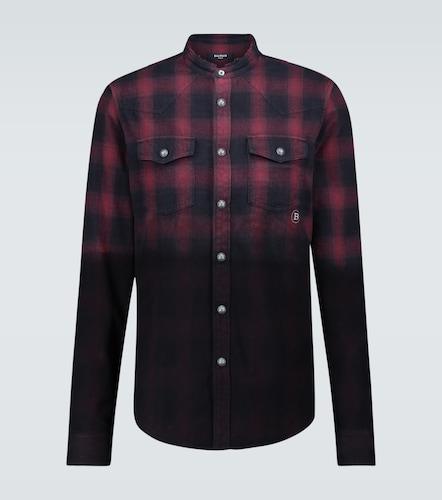 Chemise à carreaux en flanelle de coton - Balmain - Modalova