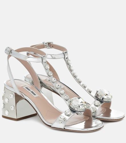 Sandales en cuir métallisé à cristaux - Miu Miu - Modalova