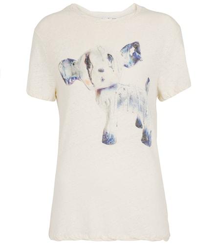 T-shirt imprimé en coton et lin - Acne Studios - Modalova