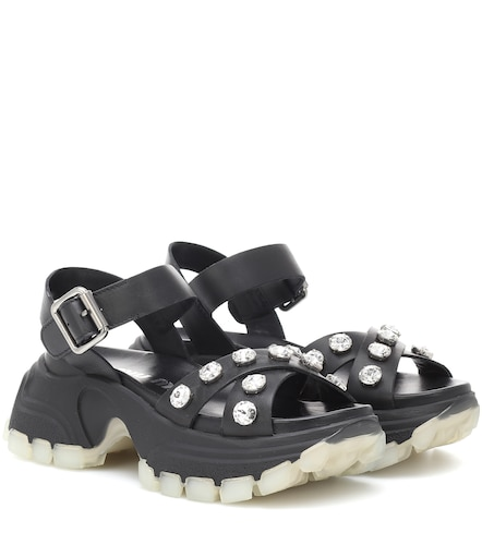 Sandales en cuir à cristaux - Miu Miu - Modalova