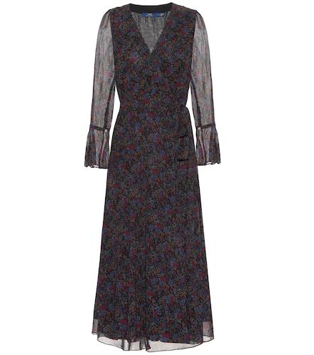 Robe portefeuille imprimée en crêpe - Polo Ralph Lauren - Modalova