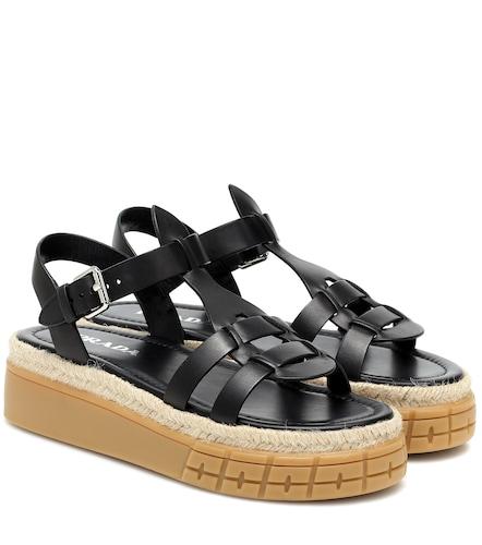 Sandales à plateforme en cuir - Prada - Modalova