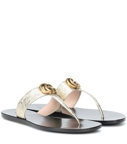 Sandales en cuir métallisé - Gucci - Modalova