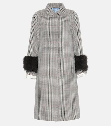 Manteau en laine mélangée à carreaux - Prada - Modalova