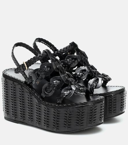 Sandales compensée en cuir - Prada - Modalova