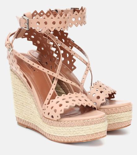 Sandales espadrilles compensées en cuir - Alaïa - Modalova