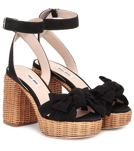Sandales à plateau en daim - Miu Miu - Modalova