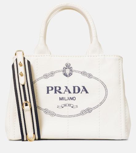 Cabas Small en coton et cuir - Prada - Modalova