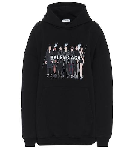 Sweat-shirt imprimé en coton à capuche - Balenciaga - Modalova