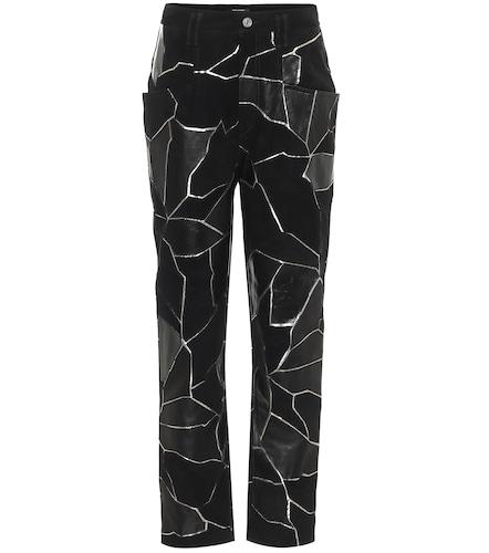 Pantalon droit Maeko à taille haute en cuir - Isabel Marant - Modalova