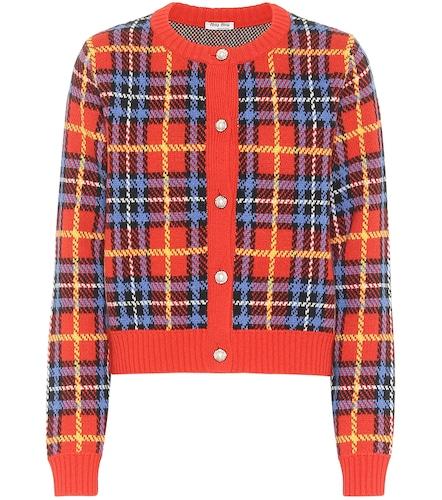 Cardigan en laine vierge à carreaux - Miu Miu - Modalova
