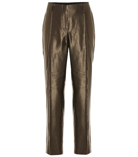 Pantalon à taille haute en laine et lin mélangés - Dries Van Noten - Modalova