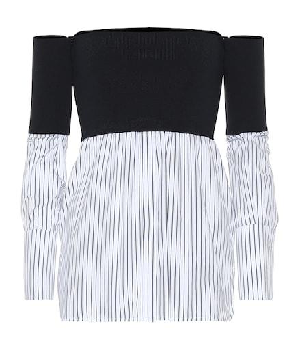 Top à encolure bardot en coton rayé et maille stretch - Victoria Victoria Beckham - Modalova