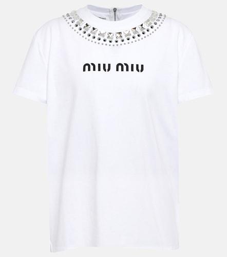 T-shirt imprimé en coton - Miu Miu - Modalova